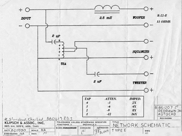 Klipsch Type E crossover schematic